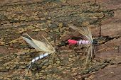 image of trout fishing  - Macro photo of an artificial fly for fly fishing on a wood background - JPG