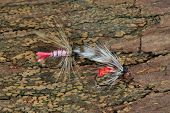 picture of trout fishing  - Macro photo of an artificial fly for fly fishing on a wood background - JPG