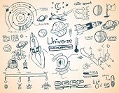 stock photo of earth mars jupiter saturn uranus  - Universe infographics element collection with hand drawn doodles sketch - JPG
