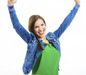 stock photo of open arms  - Beautiful happy woman smiling with arms open - JPG