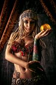 foto of dancing  - Art portrait of a beautiful traditional female dancer - JPG