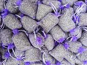 picture of sachets  - Lavender seeds are sold in purple mesh pouches in order to provide an aromatic sachet as an all - JPG