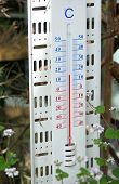 foto of temperature  - Thermometer showing 16 degrees temperature in the spring - JPG