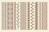image of henna tattoo  - Hand drawn henna mehndi tattoo doodle borders - JPG