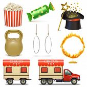 stock photo of caravan  - Vector Circus Icons Set 2 including popcorn - JPG