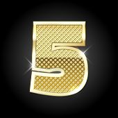 stock photo of 5s  - Vector metal gold letter of number five  - JPG