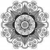 stock photo of indian culture  - Indian henna tattoo flower pattern inspired by Asian culture - JPG