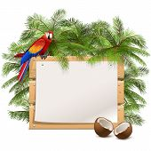 stock photo of parrots  - Vector Wooden Frame with Palm Tree - JPG