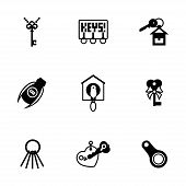 picture of skeleton key  - Vector Key icon set on white background - JPG