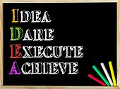image of daring  - Acronym IDEA as IDEA DARE EXECUTE ACHIEVE - JPG