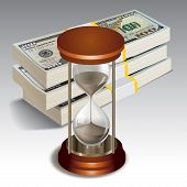 stock photo of sand dollar  - Sand clock with stack of dollars - JPG