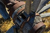 stock photo of wagon wheel  - Remains of a wagon wheel hub from days gone by - JPG