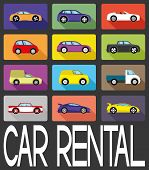 Vector sign. Car rental. poster
