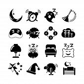 picture of counting sheep  - set of 16 sleep icons on white background - JPG