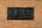 stock photo of crocodiles  - Frame of burlap lies on a background of crocodile leather with place for your text - JPG