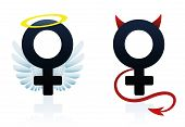 stock photo of vicious  - Good girl angel and bad girl devil figured as the female symbol - JPG