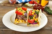 image of tacos  - Mexican food Taco in plate on wooden table - JPG