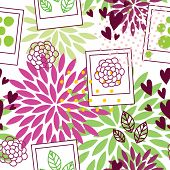 stock photo of polaroid  - Floral seamless pattern with polaroid frames in green and purple colors - JPG