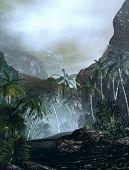 stock photo of vegetation  - 3D illustration of tropical landscape with palm trees and vast vegetation - JPG