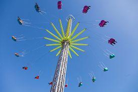 stock photo of merry-go-round  - Amusement park merry go round - JPG