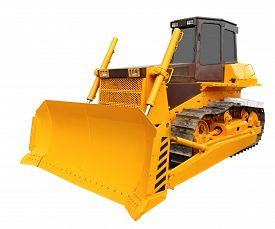 picture of bulldozers  - Modern yellow bulldozer isolated over white background - JPG
