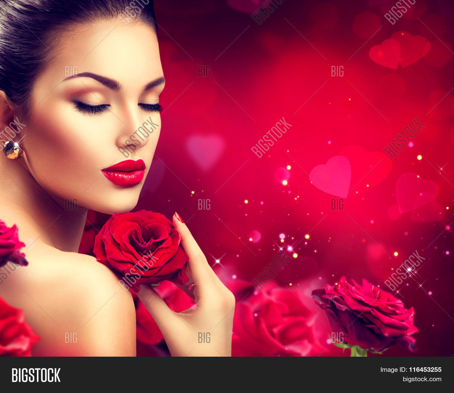 Valentine. Red Lips And Nails. Beautiful Luxury Makeup