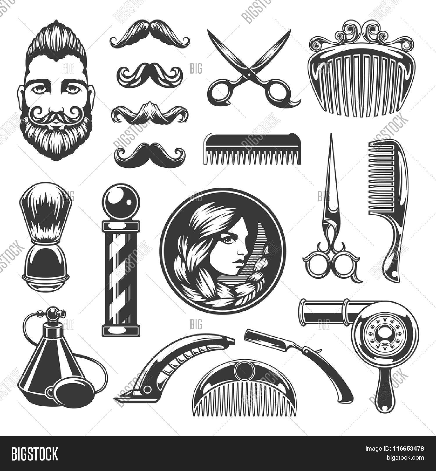 Clip art vector of vintage barber shop logo graphics and icon vector - Barber Shop Vector Silhouettes And Icons Set For Logos Labels Badges And Advertising