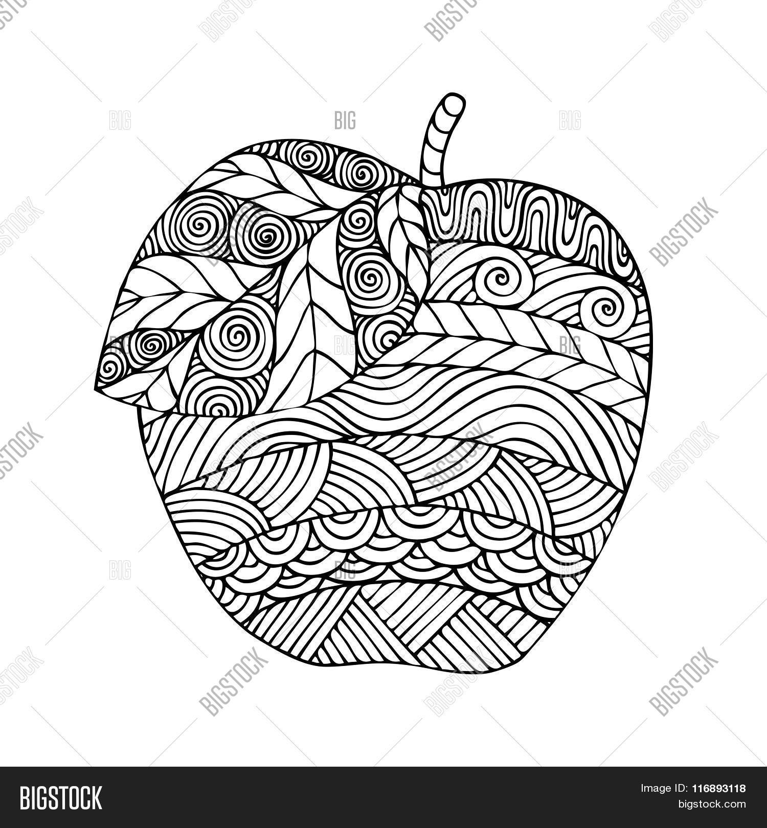 Adult Coloring Book Page Design With The Image Of An Apple