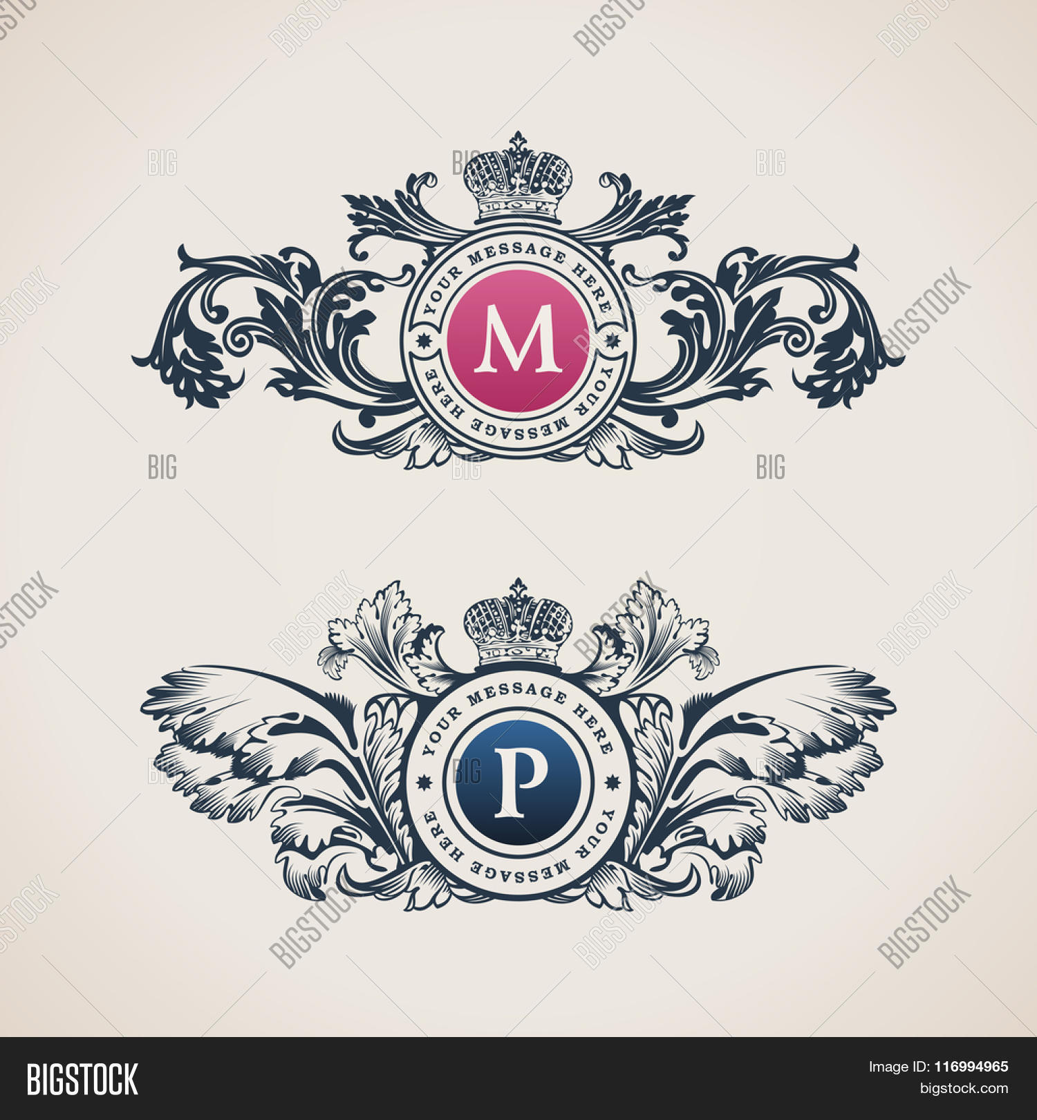 Vintage decorative elements vector photo bigstock vintage decorative elements flourishes calligraphic ornament letter m p elegant emblem template monogram pronofoot35fo Images