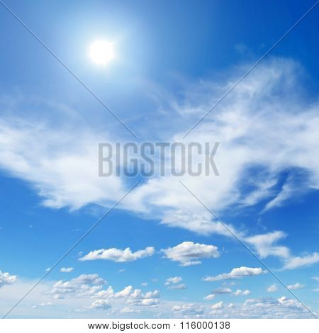 sun on beautiful blue sky