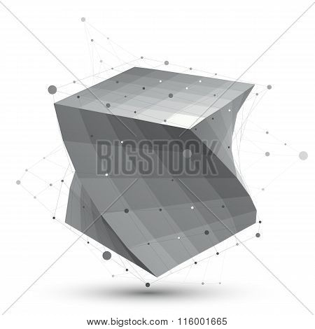 Futuristic Techno Black And White Stylish Construction, Abstract Grid Dimensional Figure With Connec