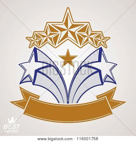 Vector Detailed Luxury Symbol. Aristocratic Heraldry Emblem With Five Pentagonal Stars And Wavy Ribb