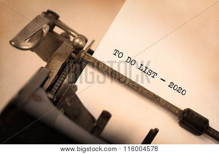 Vintage Typewriter  - To Do List 2020