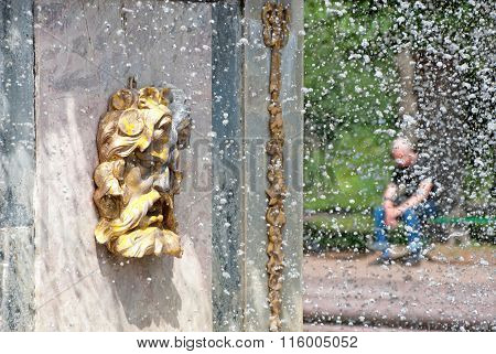 Peterhof. Russia. The Mask of The Roman Fountain