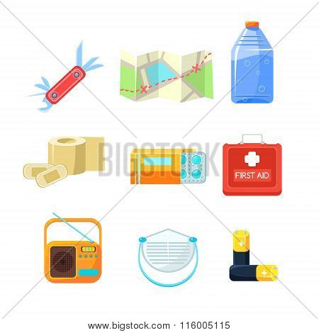 Survival emergency kit for evacuation, Items Active Rest. Vector Illustration Set