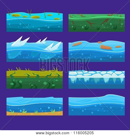 Seamless ocean, sea, water, waves vector backgrounds set for UI game in cartoon