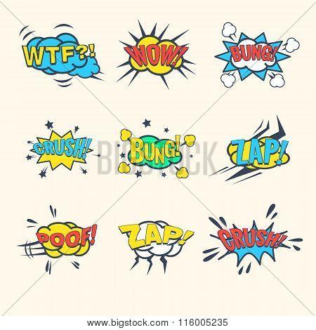 Common Comics Exclamations, speech bubble Vector Illustration Set