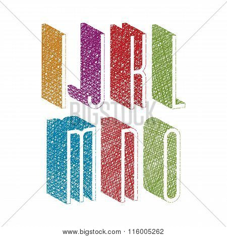 Retro Style 3D Thin Tall Condensed Font With Hand Drawn Lines Texture, Letters I J K L M N O.