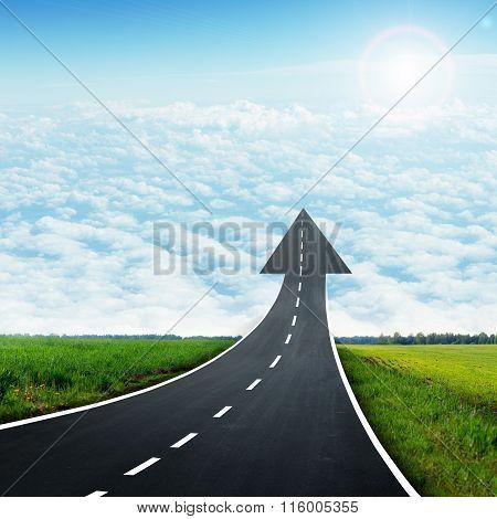 Highway road going up llike arrow