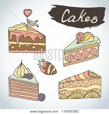 Hand drawn sweet cakes set. Bakery vector elements sketch. Excellent for creating your own menu desi