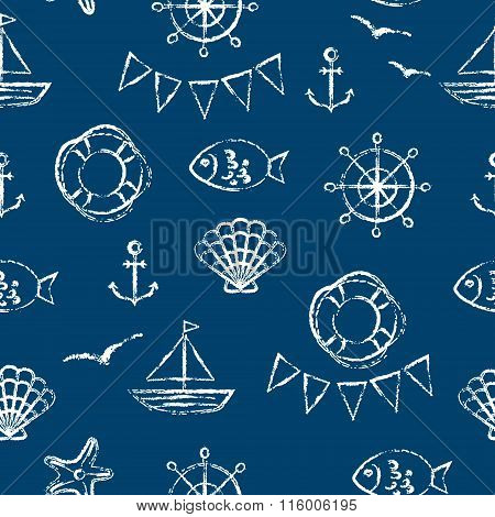 Vector Seamless Pattern With Anchor, Fish, Boat, Shell, Gull And Starfish.
