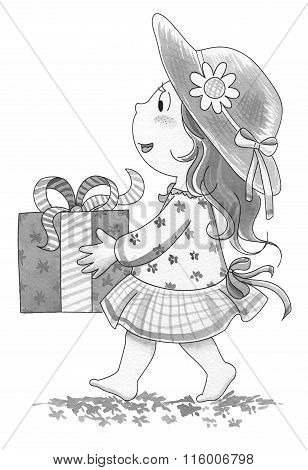 Girl Carrying Present
