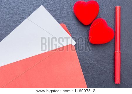 Composition Of Felt Pen Hearts And Envelope