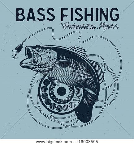 Vintage bass fishing emblems, labels