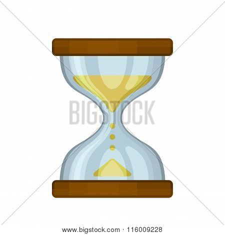 Hourglass Sand Clock on White Background. Vector