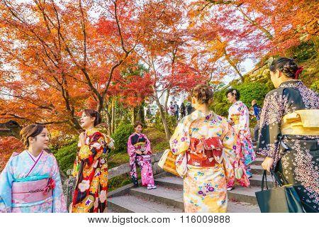 Kyoto, JAPAN-December 2: Beautiful  Young woman wearing a kimono in  Kiyomizu-dera Temple.Kyoto Japan on December 2,2015 Kiyomizu-dera was founded in the early Heian period.