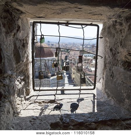 View From The Barred Windows With Padlocks Clock Tower Of The Basilica Di Santa Maria Del Fiore, Flo