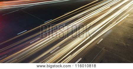 Long Exposure Traffic Lights Across Road Junction