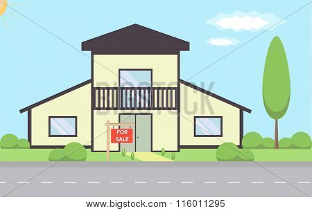 Flat design house. Real Estate