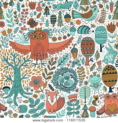Forest and floral seamless pattern with animals